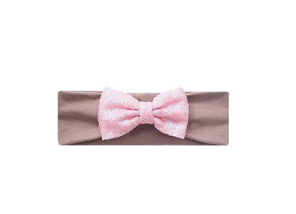 Sequins Bow Headband | Baby Pink Taupe