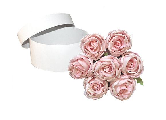 [DELUXE] Everlasting Cabbage Rose Box   Round White Box