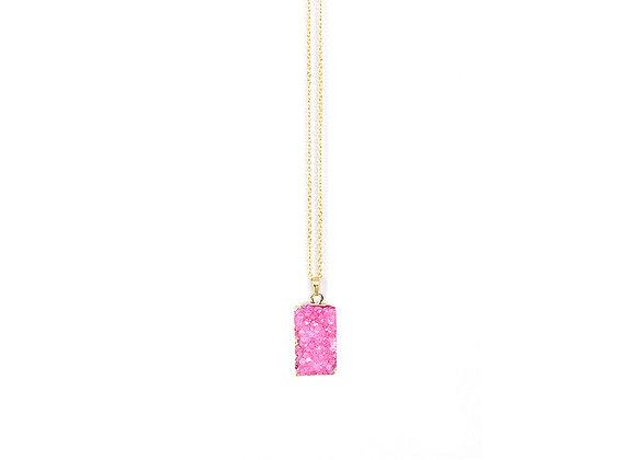 Pink Geode Druzy Necklace