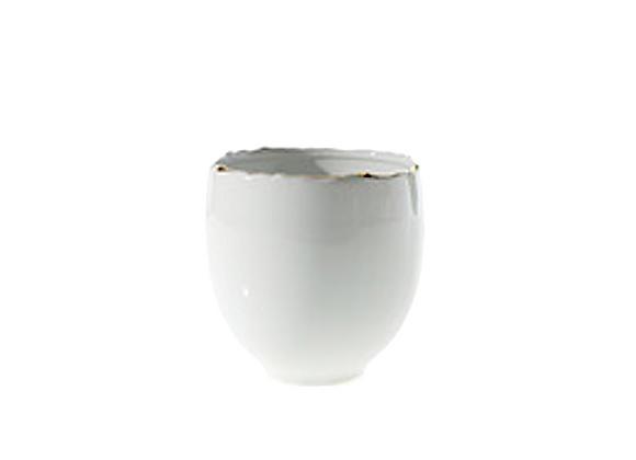 Gold Rim Pot   White