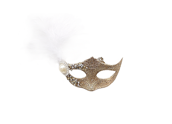 Masquerade Mask Ornament   Gold