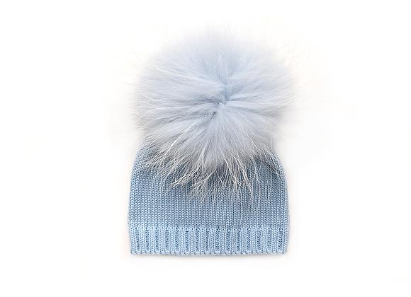 Knitted Pom Beanie | Blue
