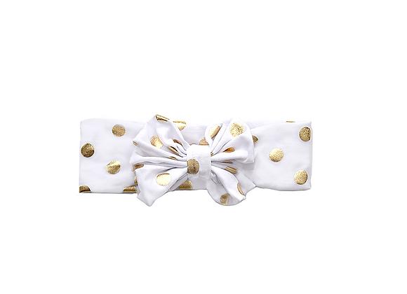 Bow Headwrap   Gold Polka Dots
