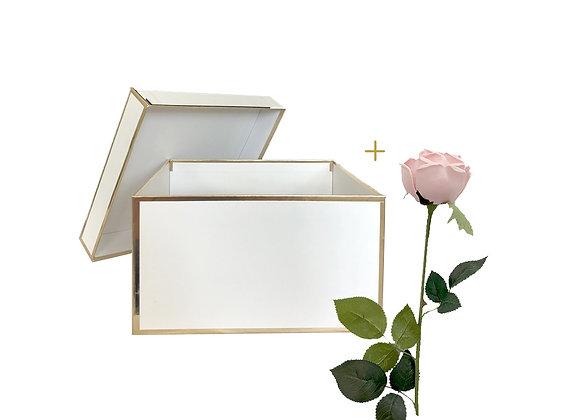 [DELUXE] Everlasting Cabbage Rose Box   Square White + Gold Box