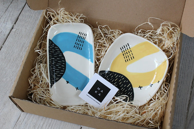Ceramic  Blue Platter and Yellow Square Dish Gift Set - Handmade Irish Gifts - Irish Pottery - Tableware - Christmas Gifts