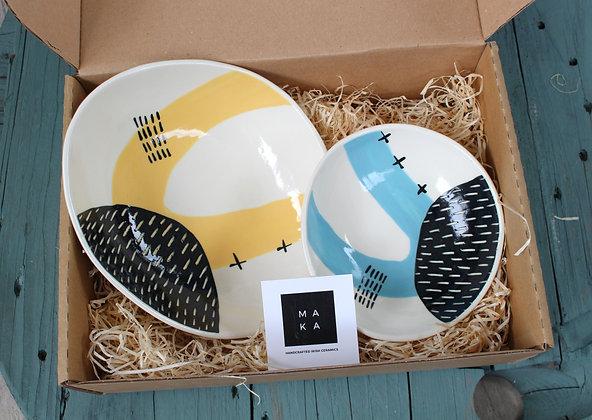 Blue/Yellow Dishes Ceramic Gift Set - Handmade Irish Gifts - Irish Pottery - Tableware - Irish Made Occasional Gifts