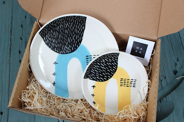 Blue/Yellow Ceramic Plates Gift Set - Handmade Irish Gifts - Irish Pottery - Tableware - Irish Made Occasional Gifts