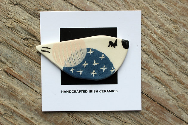 Ceramic Bird Brooch - Handmade Irish Gifts