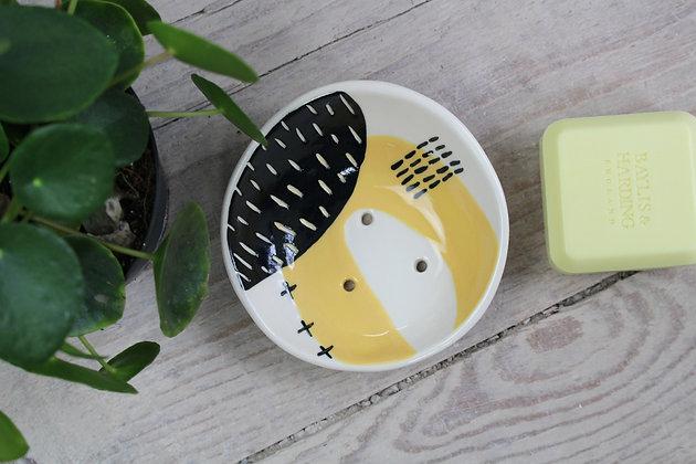 Yellow Abstract Ceramic Soap Dish - Handmade Irish Gifts - Irish Pottery - Homewares - New Home Gifts