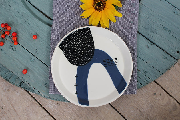 Navy Abstract Ceramic Dinner Plate - Handmade Irish Gifts - Irish Pottery - Tableware