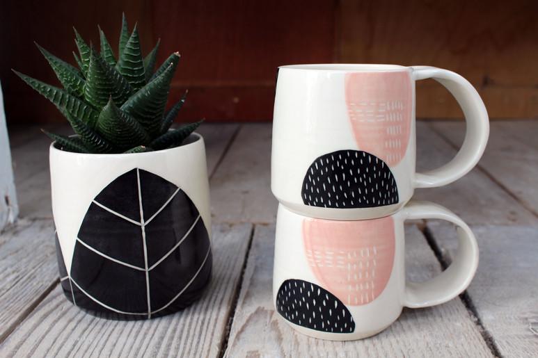 MAKA Ceramics Plant Pot, Tableware, Pink/Black Coffee Cup -  Irish Pottery