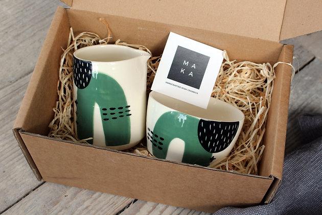 Green Abstract Ceramic Creamer & Sugar Bowl Set - Handmade Irish Gifts - Irish Pottery - Tableware