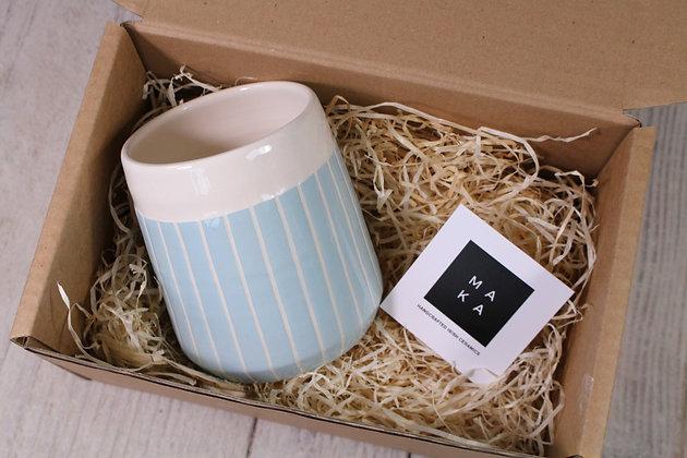 Blue stripe tapered planter - Indoor Planter - Irish home-wares - Irish Pottery - Handmade Irish
