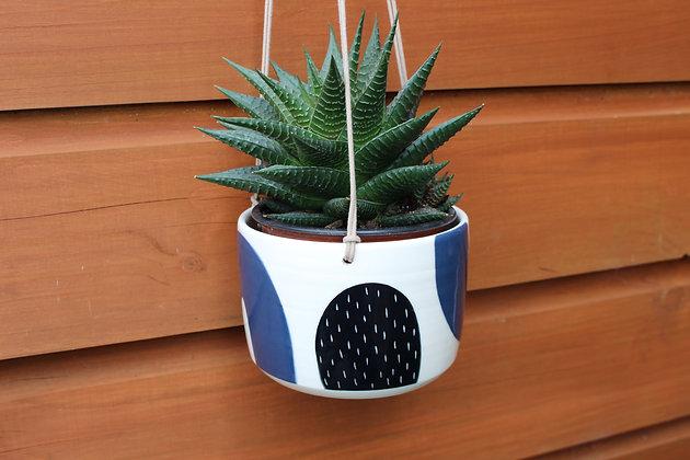 Navy/Black Hanging Planter - Plant Pot - Handmade Irish Gifts - Irish Pottery - Homewares - Irish Made Occasional Gifts