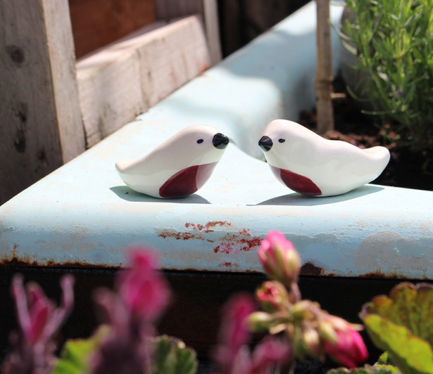 Ceramic Love Bird Ornaments - Irish Pottery - Homewares - Wedding/Valentine/LoveGift