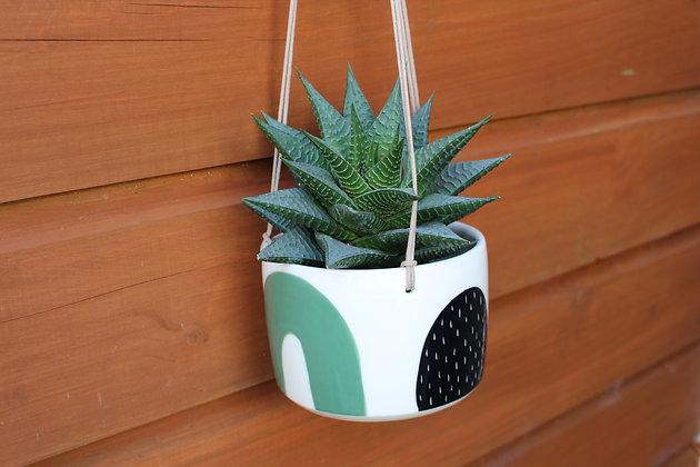 Green/Black Hanging Planter - Plant Pot - Handmade Irish Gifts - Irish Pottery - Homewares - Irish Made Occasional Gifts