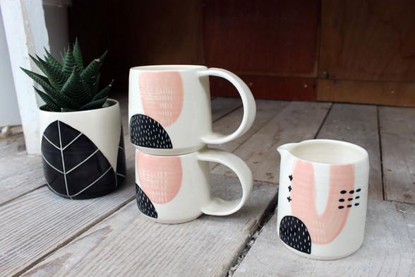 MAKA Ceramics, pink/black plant pot, tableware, coffee cups, jug - Irish Pottery