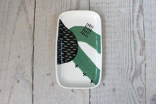 Green Abstract Ceramic Small Platter - Handmade Irish Gifts - Irish Pottery - Tableware