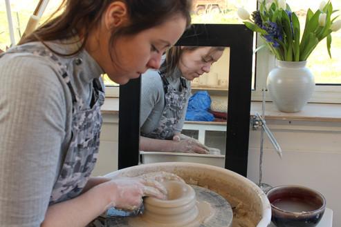 MAKA Ceramics, Karen throwing - Irish Pottery