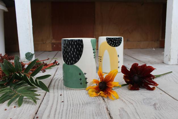 Ceramic Green/Yellow Abstract Vase - Irish Pottery - Homewares - Gift
