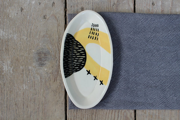 Yellow Abstract Ceramic Olive Bowl - Handmade Irish Gifts - Irish Pottery - Tableware