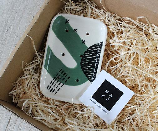 Green Abstract Ceramic Soap Dish - Handmade Irish Gifts - Irish Pottery - Homewares - Christmas Gifts