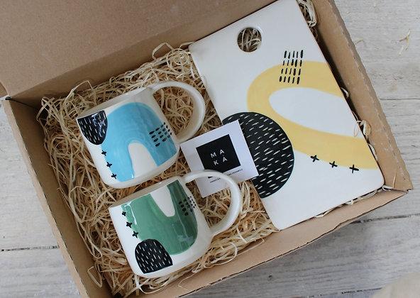 Blue/Green/Yellow Ceramic Coffee Cups & Platter Gift Set - Handmade Irish Gifts - Irish Pottery - Tableware - Christmas