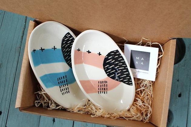 Blue/Blush Ceramic Nibbles Dishes Gift Set - Handmade Irish Gifts - Irish Pottery - Tableware - Irish Made Occasional Gifts