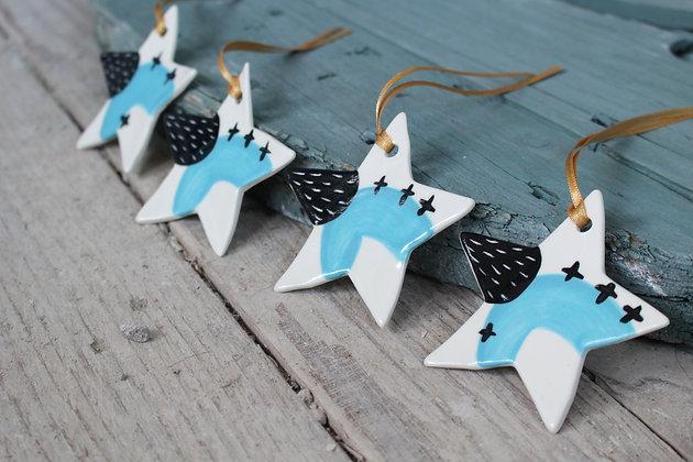 Blue Mini Star gift set | Ceramic Decoration | Handmade Irish Gifts | Christmas Gifts