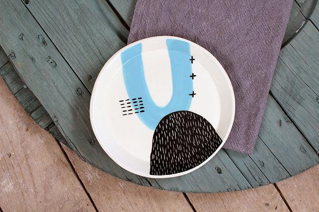 Blue Abstract Ceramic Dinner Plate - Handmade Irish Gifts - Irish Pottery - Tableware