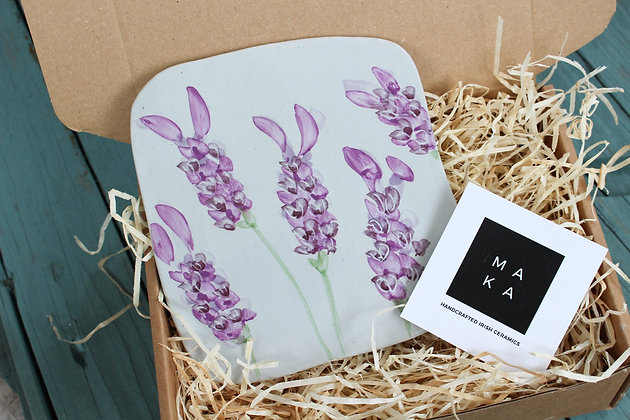 Ceramic Decorative French Lavender Floral Tile - Handmade Irish Gifts - Irish Pottery - Homeware - Decoration