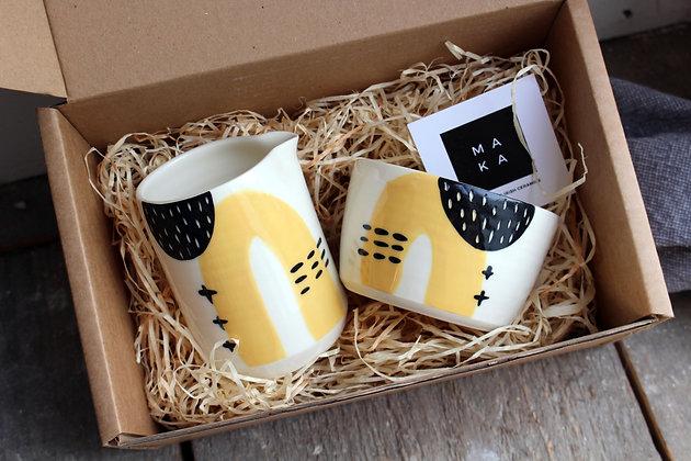 Yellow Abstract Ceramic Creamer & Sugar Bowl Set - Handmade Irish Gifts - Irish Pottery - Tableware