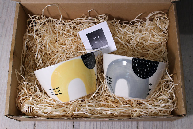 Yellow/Grey Ceramic Breakfast Gift Set - Handmade Irish Gifts - Irish Pottery - Tableware - Irish Made Christmas Gifts
