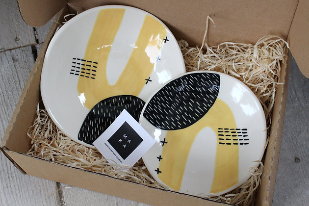 Yellow Ceramic Dishes Gift Set - Handmade Irish Gifts - Irish Pottery - Tableware - Christmas Gifts