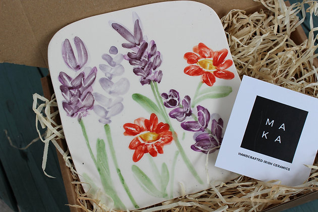 Ceramic Decorative French Lavender & Geum Floral Tile - Handmade Irish Gifts - Irish Pottery - Homeware - Decoration