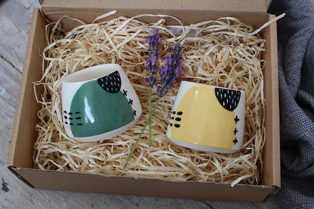 Green/Yellow Ceramic Egg Cup Set - Handmade Irish Gifts - Irish Pottery - Tableware