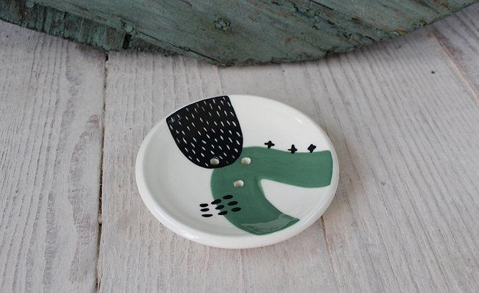 Green Abstract Ceramic Soap Dish & Beaker - Handmade Irish Gifts - Irish Pottery - Homewares - New Home Gifts