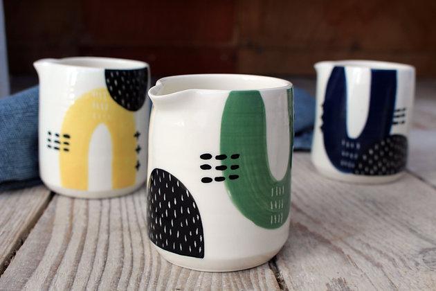 Green/Grey/Black Abstract Creamer Jug - Handmade Irish Pottery – Gifts