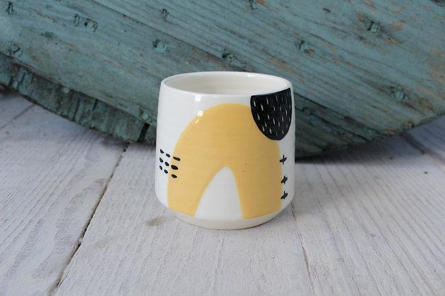 Yellow Abstract Ceramic Beaker - Handmade Irish Gifts - Irish Pottery - Homewares - New Home Gifts