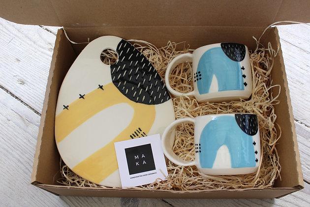 Blue Ceramic Coffee Cup & Yellow Platter Gift Set - Handmade Irish Gifts - Irish Pottery - Tableware - Occasional Gifts