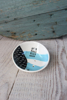 Blue Abstract Curved Ceramic Soap Dish - Handmade Irish Gifts - Irish Pottery - Homewares - New Home