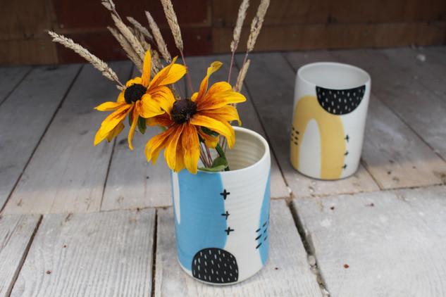Ceramic Blue Abstract Vase - Irish Pottery - Homewares - Gift