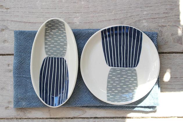 Navy/Grey Block Side Plate - Handmade Irish Gifts - Irish Pottery - Tableware