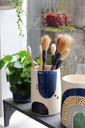 Abstract Vase Navy/Black   Ceramic Homewares   Handmade Irish Gifts   Christmas Gifts