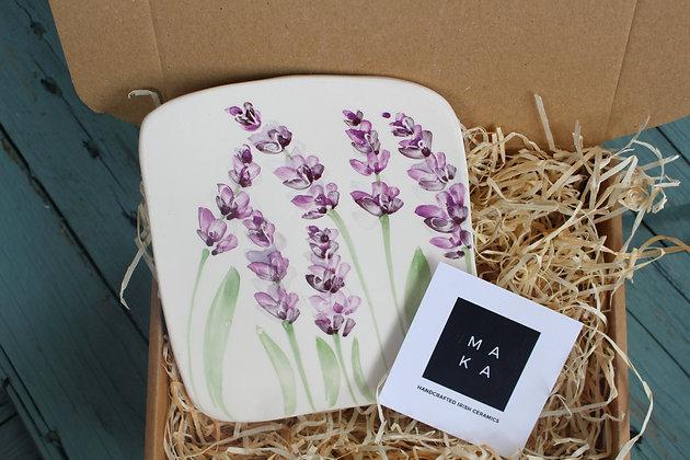 Ceramic Decorative English Lavender Floral Tile - Handmade Irish Gifts - Irish Pottery - Homeware - Decoration