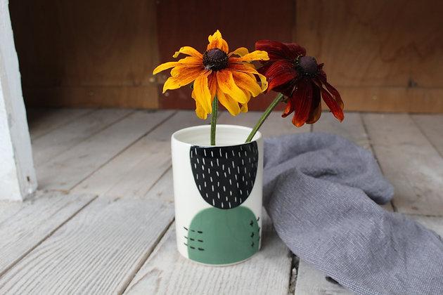 Green Abstract Ceramic Vase - Handmade Irish Gifts - Irish Pottery - Homewares
