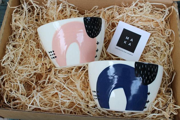 Navy/Blush Ceramic Breakfast Gift Set - Handmade Irish Gifts - Irish Pottery - Tableware - Irish Made Occasional Gifts