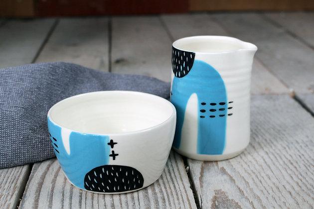 Blue Abstract Ceramic Creamer & Sugar Bowl Set - Handmade Irish Gifts - Irish Pottery - Tableware