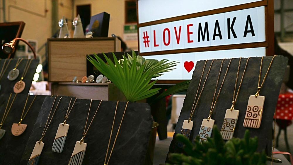 MAKAs market display - Dublin market - ceramic jewellery