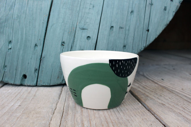 Green Abstract Ceramic Breakfast Bowl - Handmade Irish Gifts - Irish Pottery - Tableware